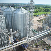 Metal constructions of grain elevator after washing